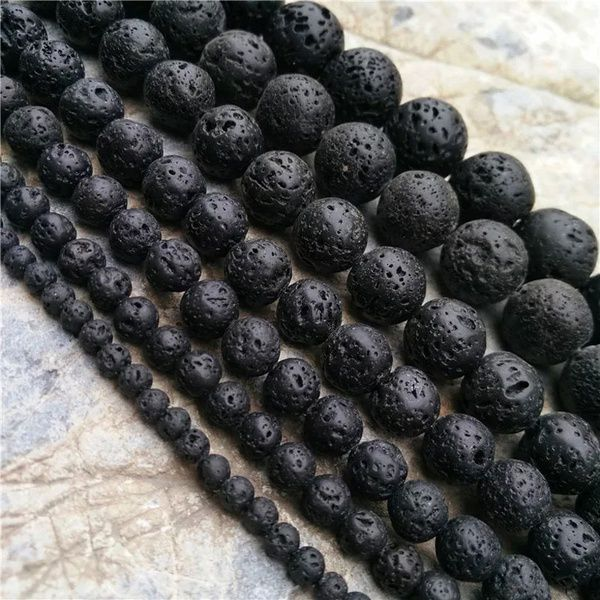 Black Round Lava Rock Gemstone Bead for DIY Pendant Necklace Charm Bracelet Jewelry Making