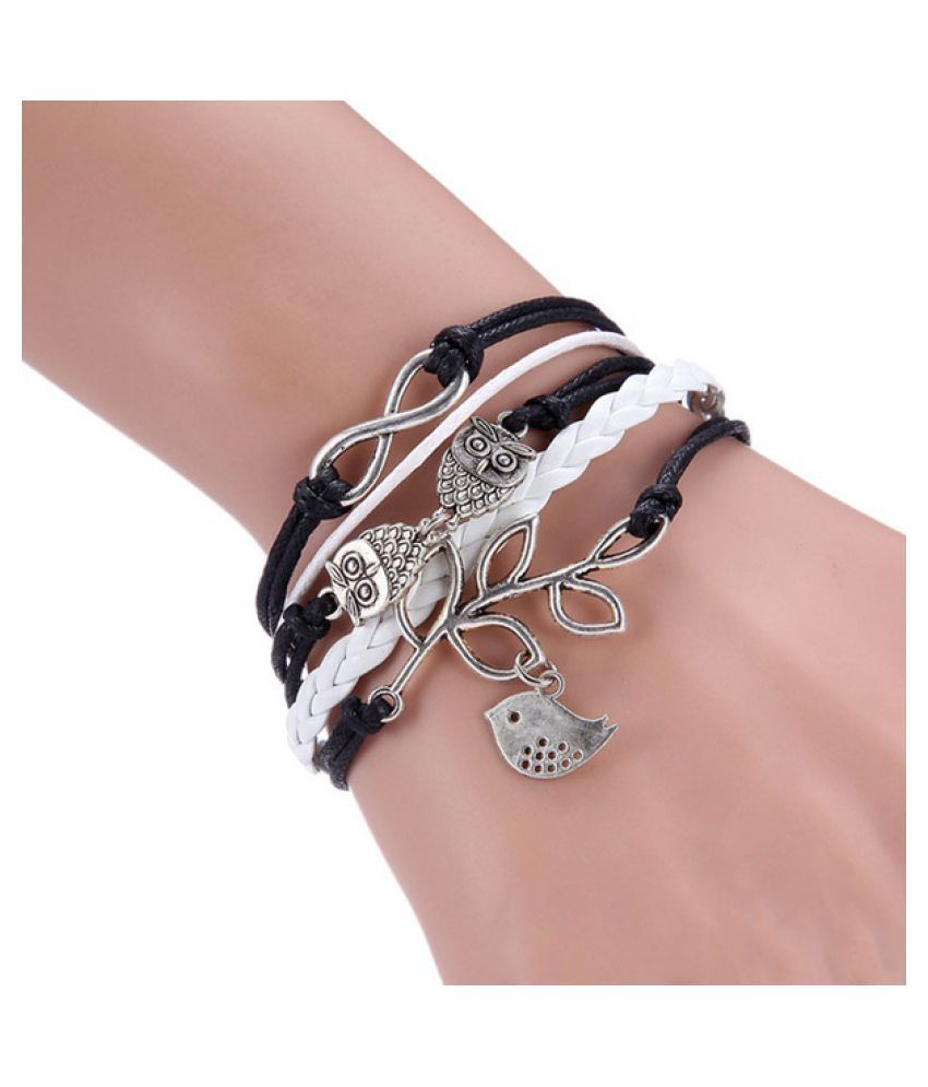 Infinity, Owls & Lucky Branch/Leaf and Lovely Bird Charm Bracelet