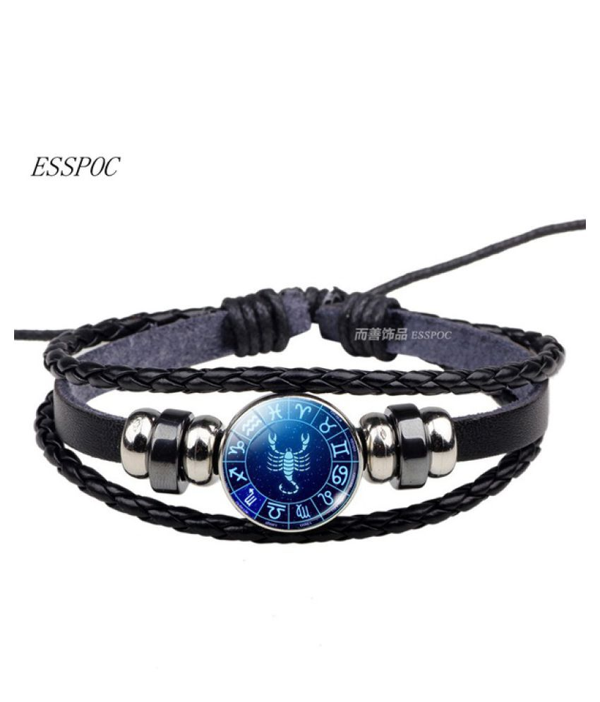 Zodiac Sign Button Bracelet Aquarius Pisces Aries Taurus Gemini 12 Constellation Punk Braided Leather Men Women Birthday Gift Buy