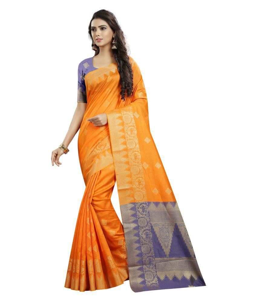 HNG Couture Orange Cotton Silk Saree