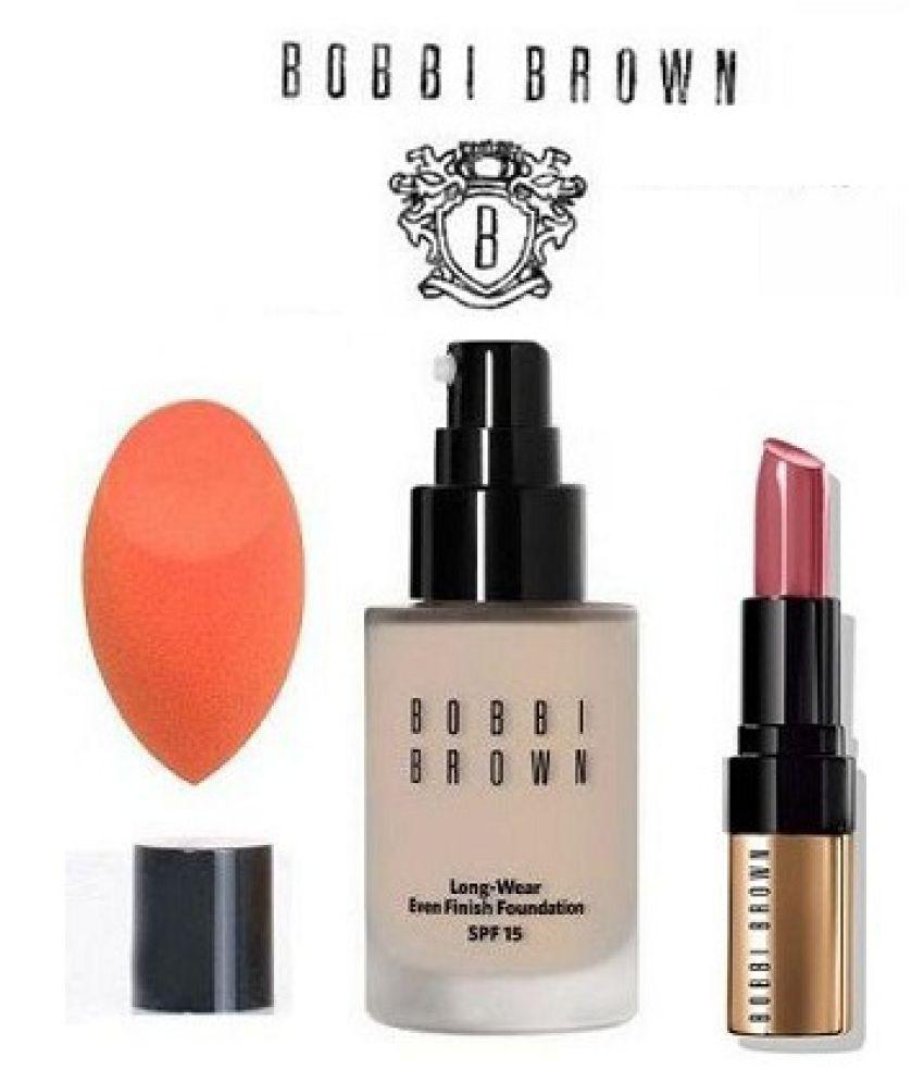 Bobbi Brown Long Wear Foundation,Puff With Lipstick Matte