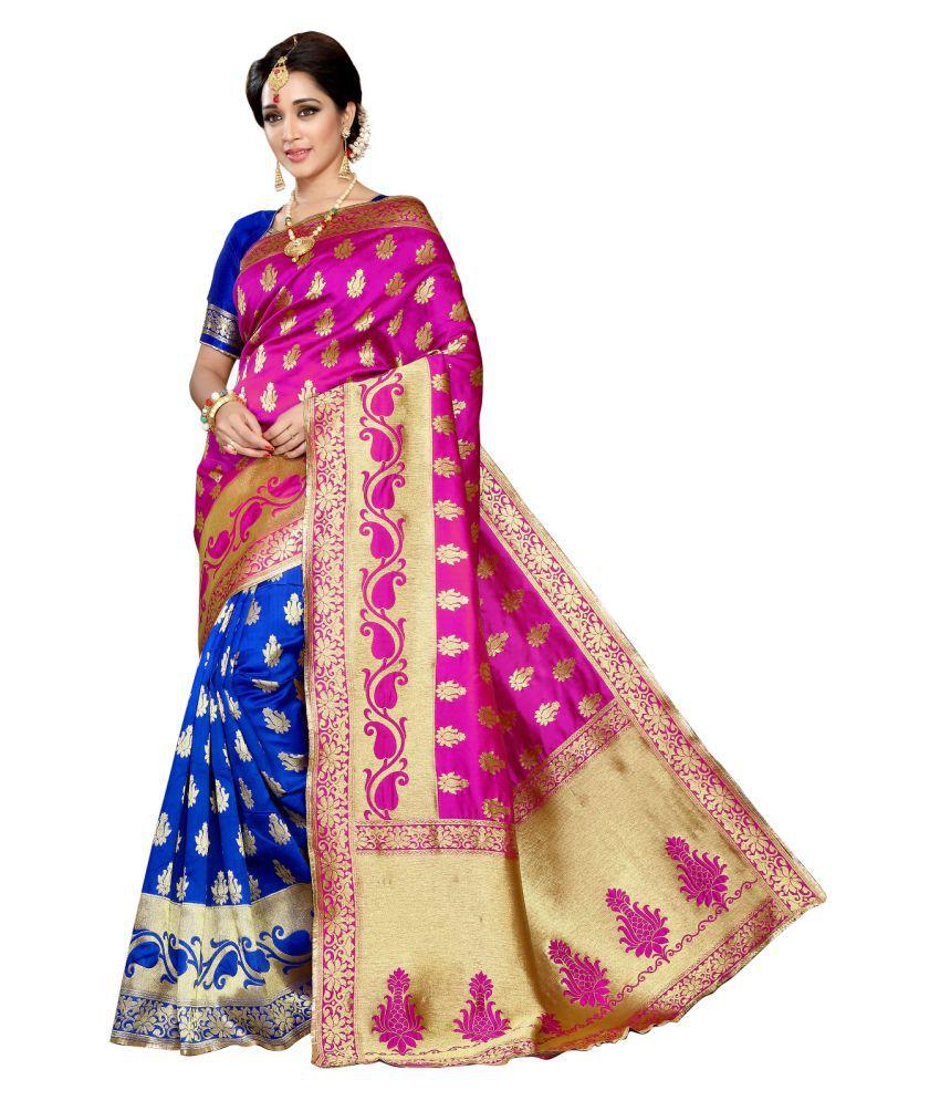 HnG Couture Pink and Beige Banarasi Silk Saree
