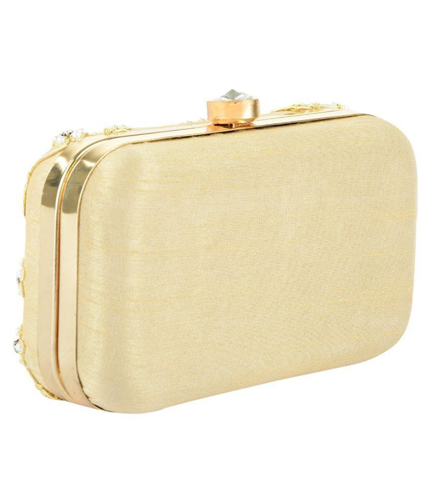 Tooba Handicraft Gold Fabric Box Clutch