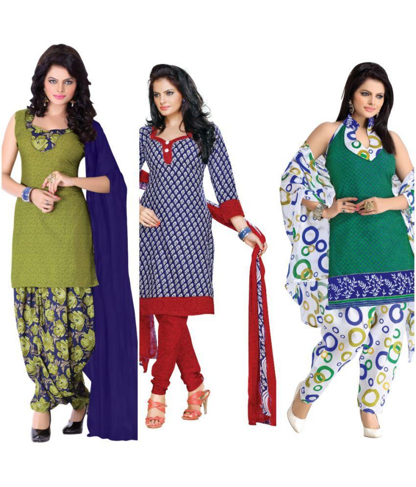 BanoRani Multicoloured Cotton Poly Dress Material
