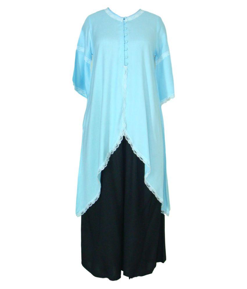 Patrorna Blue Cotton Blend Asymmetrical Hemline Kurti