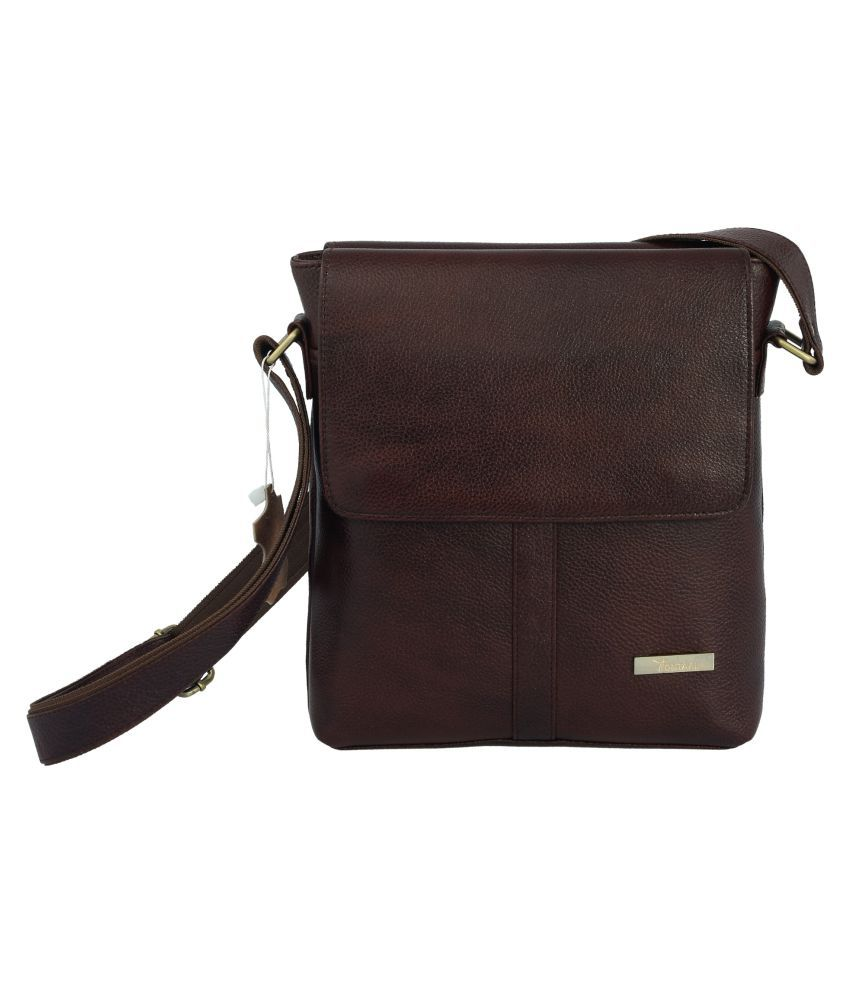 Montaal Brown Pure Leather Sling Bag