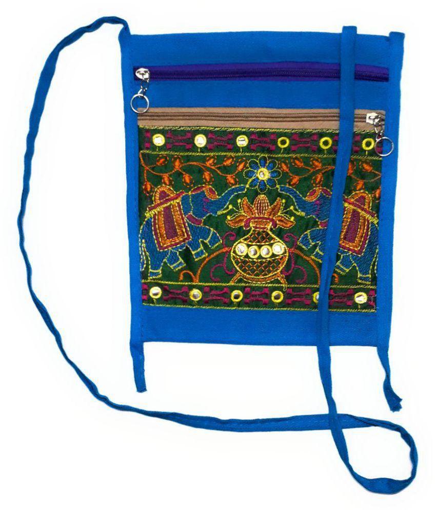 Unique Fashion Blue Cotton Sling Bag