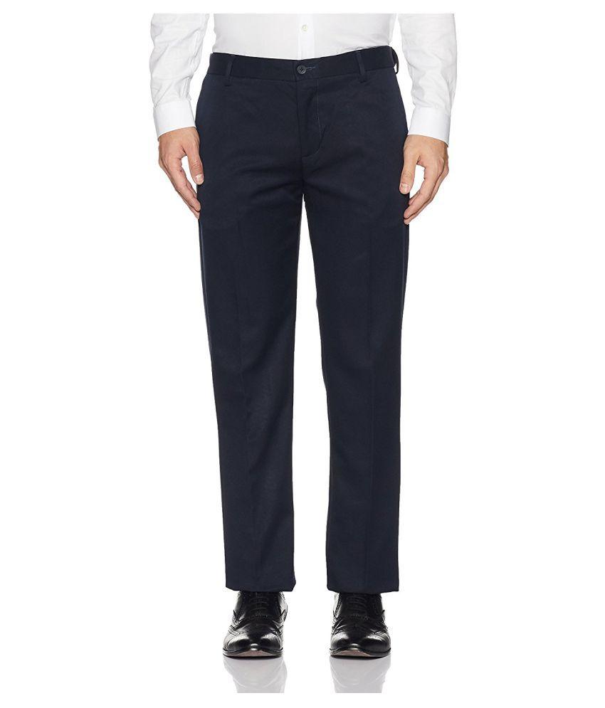 Viewmore Blue Regular -Fit Flat Trousers