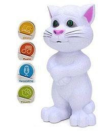 atorakushon® Intelligent Touching Tom Cat with Wonderful Voice Birthday Gift for Kids Toy Kid Children Infant love Birthday Gift Battery Operated (White)