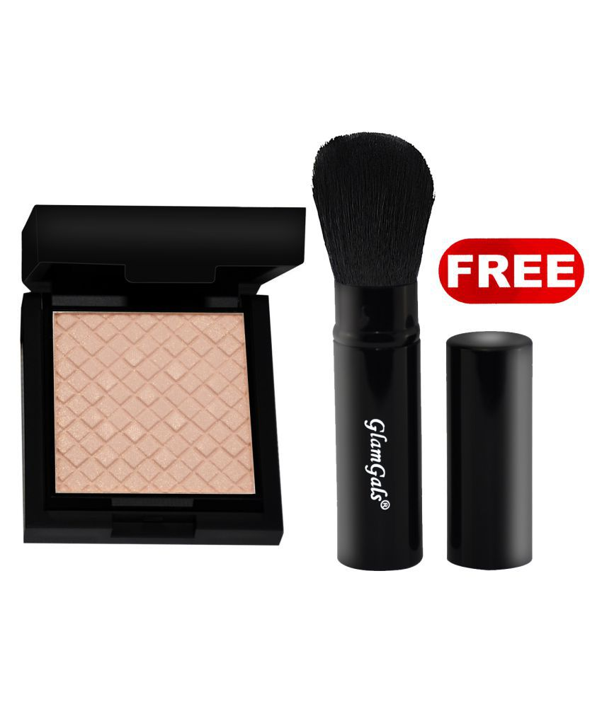 GlamGals Illuminator+ Pocket Brush Free Pressed Powder Beige 12 gm