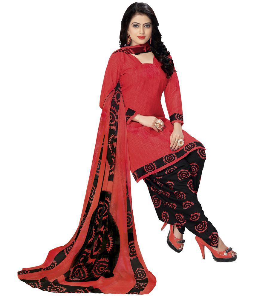 Ishin Red Synthetic Dress Material