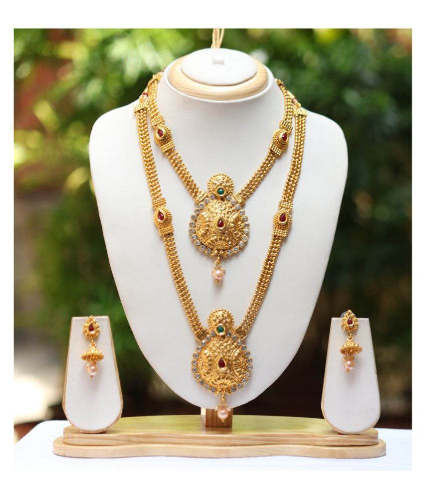 fdd4defcd Swarajshop Antique Gold Plated Haram Double Strand Artificial Maharani Necklace  Set With Earrings - Buy Swarajshop Antique Gold Plated Haram Double Strand  ...