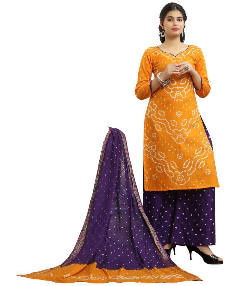 Fab Silk Yellow Cotton Dress Material