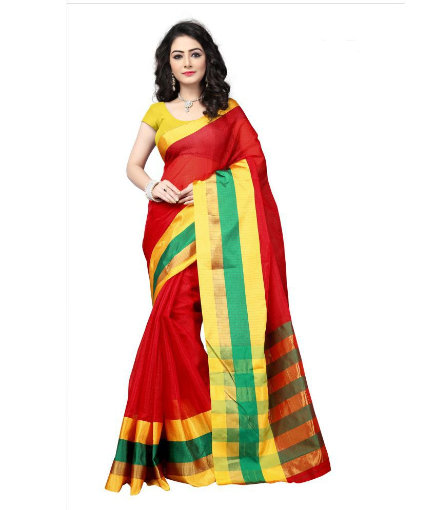 Silkshow Red Kora cotton Saree