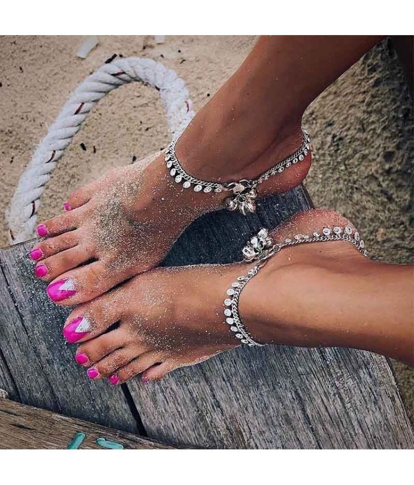 1 PC Bells Round Boho Anklet Foot Chain Ankle Summer Bracelet Charm Anklets Tassel Sandals Barefoot Beach Foot Bridal Jewelry Gift