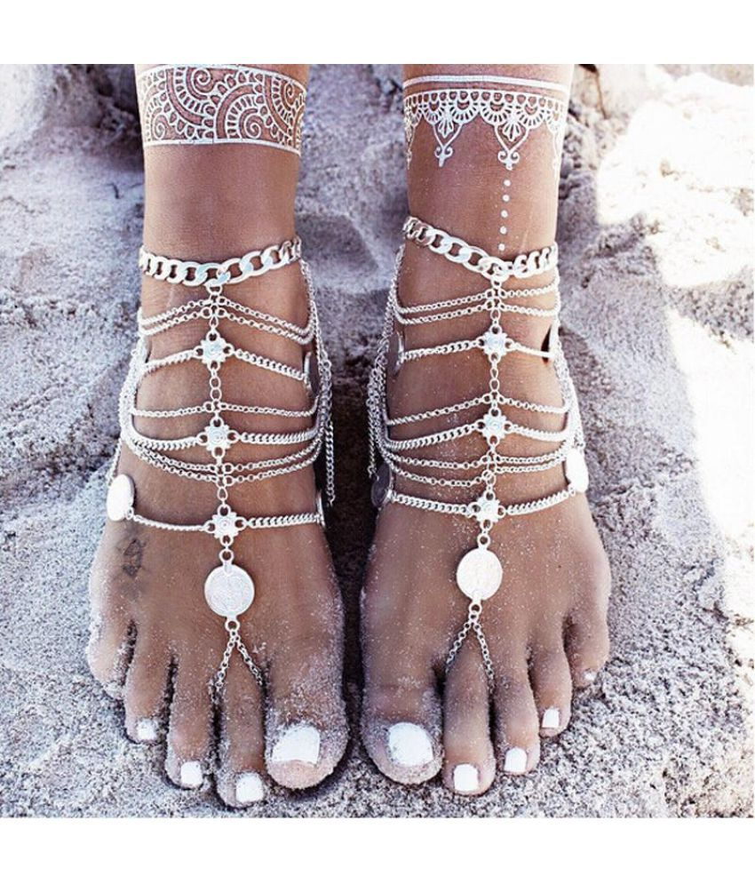 1PCS Punk Vintage Multilayer Metal Tassel Chain Coin Anklets for Beach Barefoot Chain (Color: Silver)
