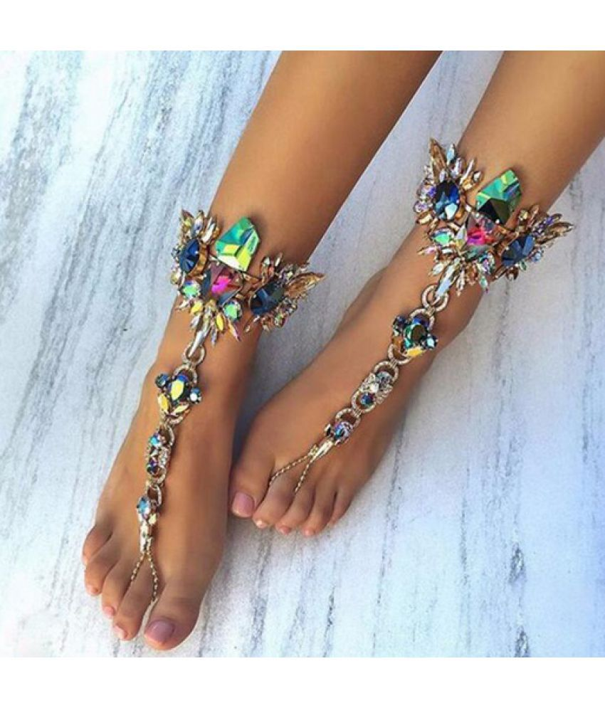 2017 New Luxury Crystal Rhinestones Gem Flower Pendant Anklet Chain Ankle Barefoot Sandals Foot Jewelry