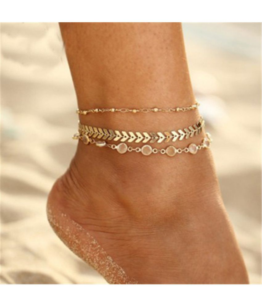3pcs/set Summer Beach Fashion Fishbone Chain Crystal Zircon Beads Anklet Chain Women Party Ankle Bracelet Jewelry Accessories