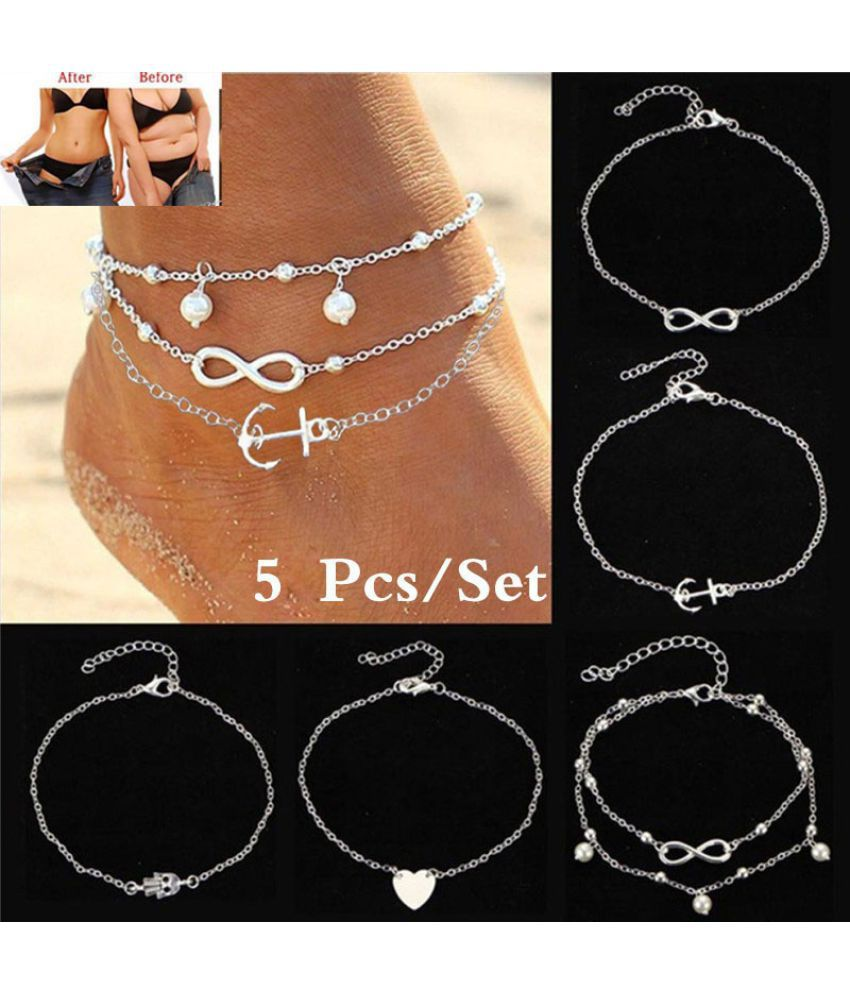 5Pcs/Set Luxury Heart Palm Anchor Pearl Infinity Alloy Foot Chain Women's Fashion Anklet Bracelet Jewelry Set Gifts