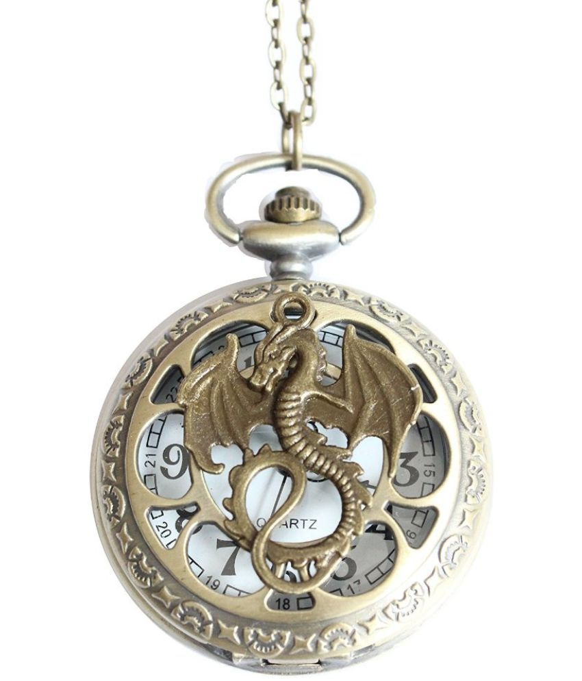 Ancient Bronze Fashion Dragon Pocket Watch Pendant Necklace with Charm Chain Jewelry