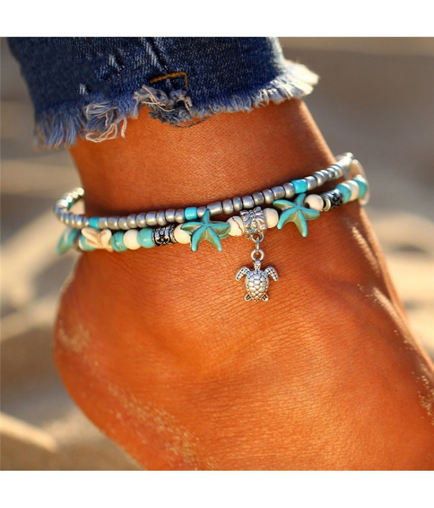 Bohemia Style Vintage Turquoise Tortoise Anklet Chain Unique Trendy Anklets For Women Beach Jewelry Accessories