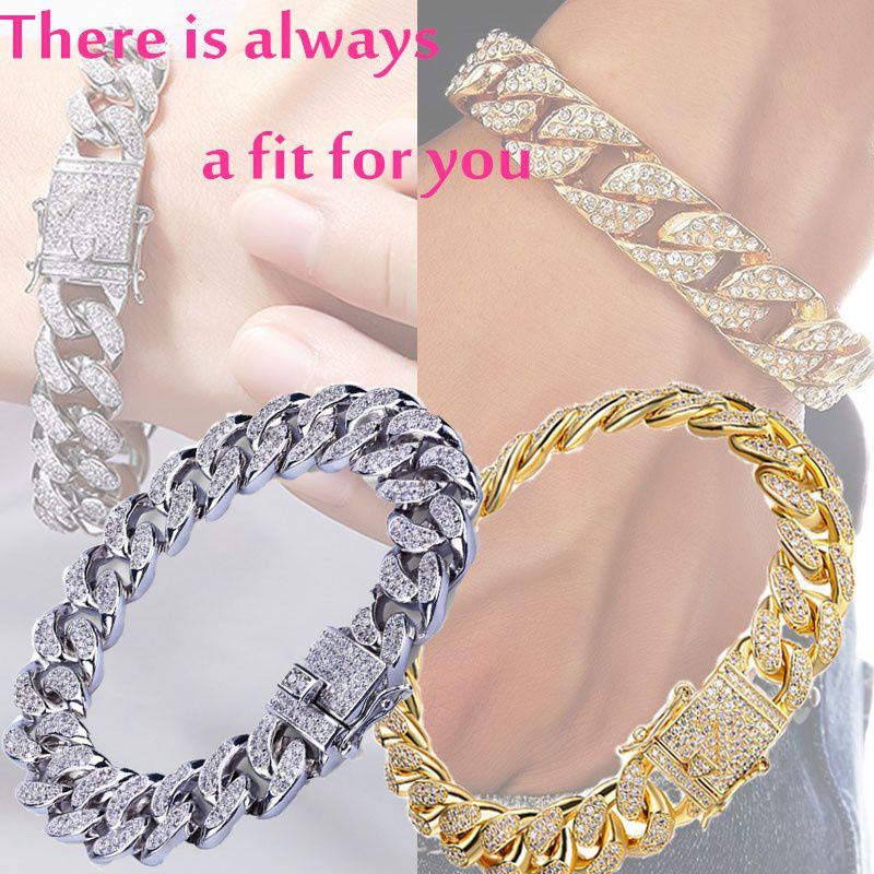 Fashion Fully Iced Out Rhinestone Bracelet  Hip Hop Bling Cuban Link Chain Bracelet New Chain & Bracelet for Men