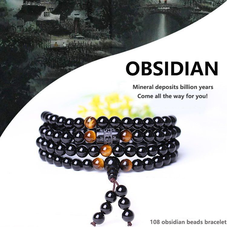 Fashion Obsidian Crystal Bead withTiger Eye Tibetan 108 Onyx
