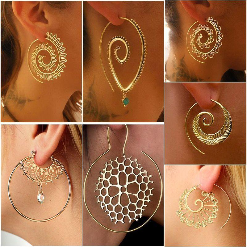 Gypsy Tribal Classics Spiral Hoop Earring Gold/Silver Plated Bohemian Style Swirls Drop Dangle Earrings Women Personality Jewelry Accessories Gifts