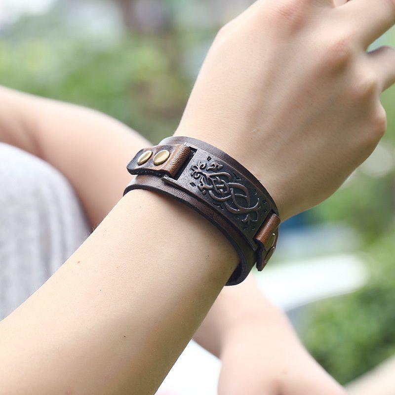 New Fashion Accessories High Quality Woven Leather  Bracelet Retro Leather Bracelet Antique Punk Bracelet