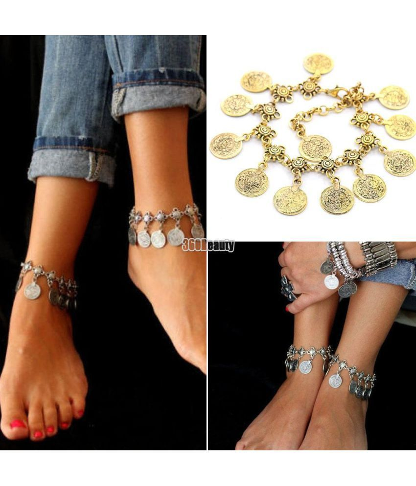 New Hot Charm Women Fashion Vintage Style Metal Coins Tassel Anklet Bracelet