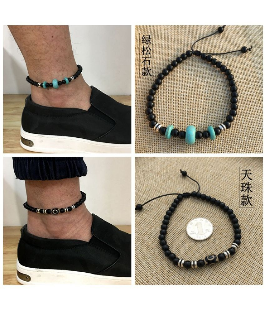 Simple Natural Stone Turquoise Tibetan Silver Bead Ankle Chain For Men
