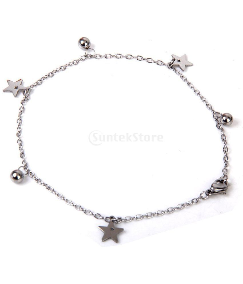 Star-Ball Pendant Anklet Ankle Chain Bracelet Stainless Steel---Silver