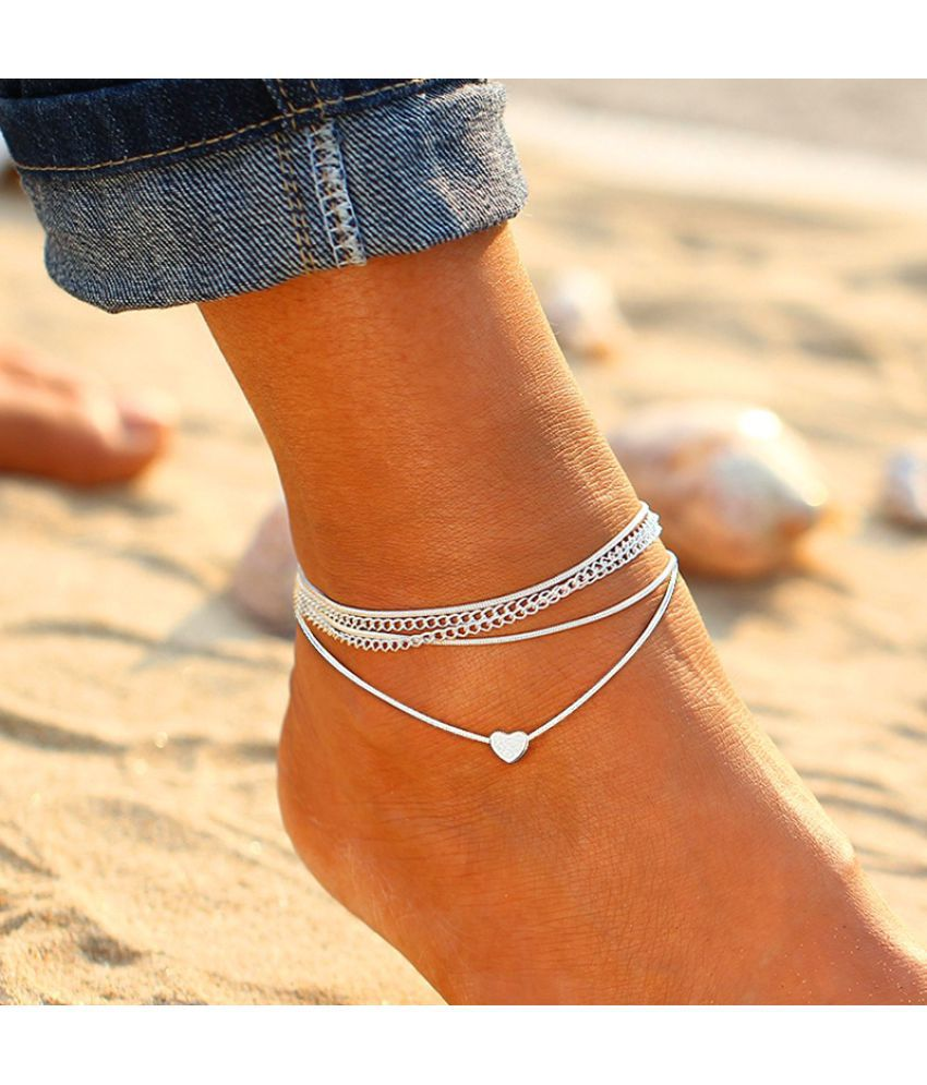 Summer Super Cute Silver Love Heart Multilayer Anklet Chain Charm Elegant Sandals Anklets For Women Beach Jewelry Accessories