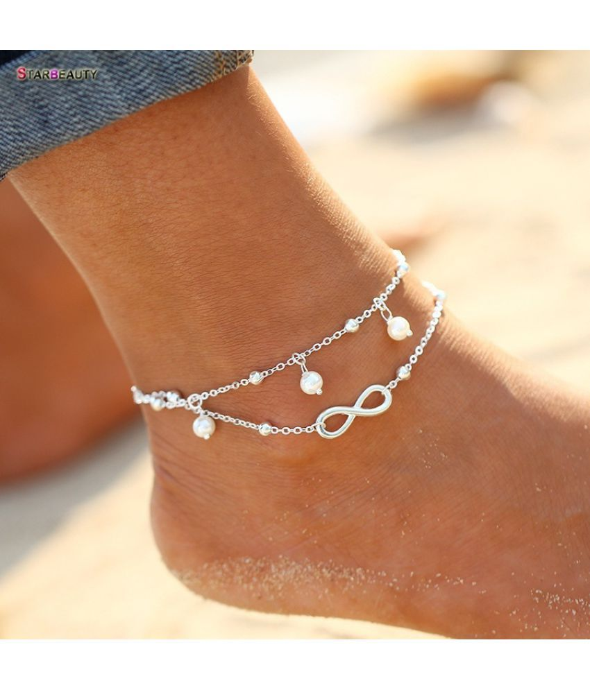 Trendy Number 8 Pearl Anklet Mini Bell Anklet Charming Foot Chain 21cm Beach Anklets for Women Girls