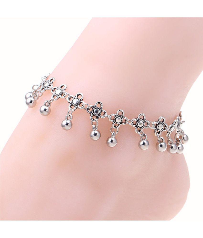 Vintage Women Fashion Small Flower Tassel Beads Silver Chain Anklet Bracelet Beach Foot Jewelry