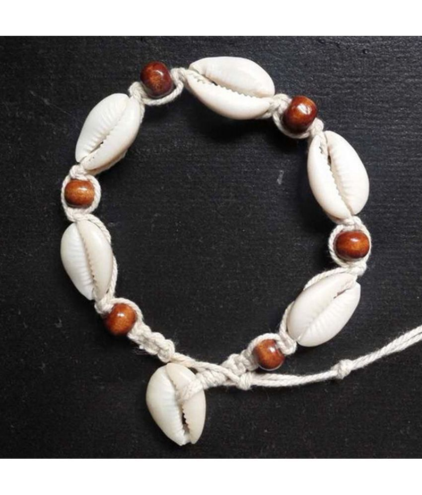 Women Boho Wood Bead Bracelet Sea Anklet Shell Holiday Surf String Vocation Cord Hippy