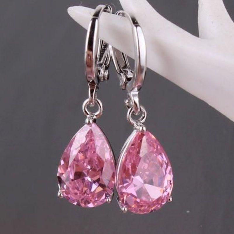Women's Fashion 925 Sterling Silver Dangle Earrings Pink Cublic Zircon Crystal Stud Hoop Earrings Mother's Day Gifts