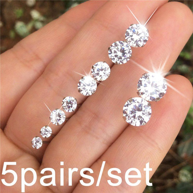 5Pairs/ Set Geometric Crystal Wedding Elegant Stud Earrings Set Charm Simple Women Alloy Silver Zircon Earring Sets Jewelry Accessories Gifts
