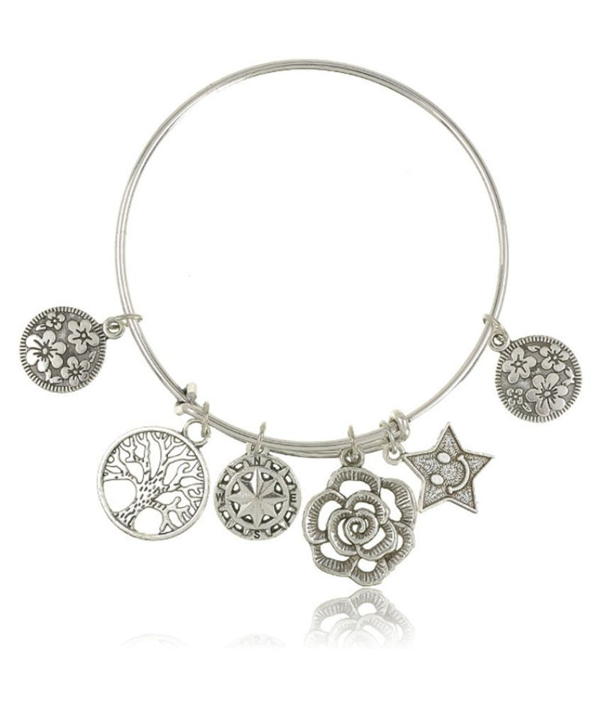 Retro Antique Silver Life Of Tree Star Flower Charms Pendant Bracelets Bangles Vintage Women Jewelry