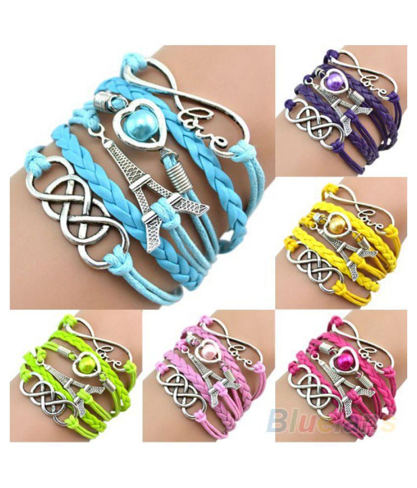 Women Eiffel Tower Cuff Multilayer Faux Leather Friendship Bracelet Bangle Chain