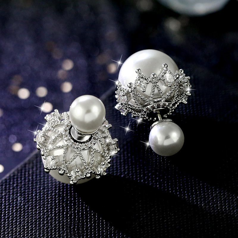 1pair Fashion Hollow Lace Crown decorative CZ diamond Cluster Double Sided Pearl Stud Earrings Women Jewelry