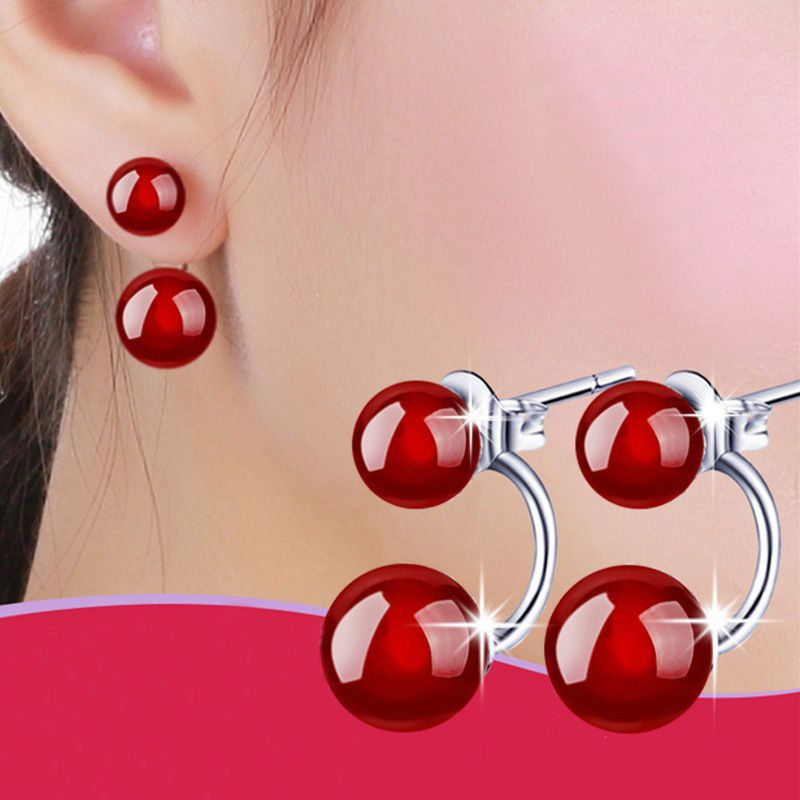 2015Womens 925Sterling Silver Plated Natural Red Agate Ear Stud Earrings Jewelry