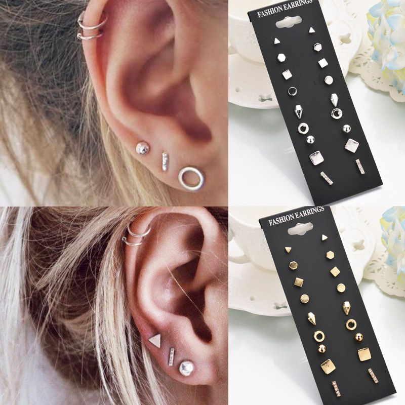 9pairs/set Simple Vintage Geometric Crystal Stud Earrings Set Charm Trendy Gold/silver Alloy Punk Earrings Women Causal Jewelry Accessories Gift