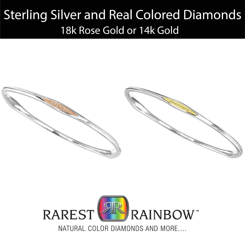 Rarest Rainbow by Pancis Sterling Silver and Vermeil Stackable Diamond Bracelet (2 Colors)