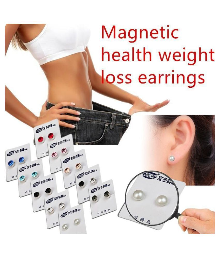 Weight Loss Earrings Crystal Slimming Healthy Acupoints Stud Magnetic Jewelry 10Colors