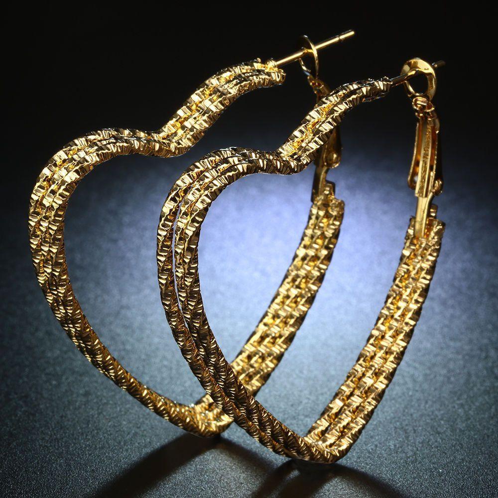 Women Chic 18K Yellow Gold Filled Heart Stud Hoop Dangle Earring Wedding Jewelry