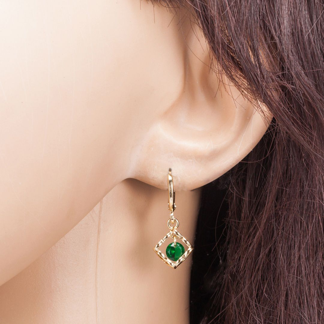 Women's Fashion Garnet & Emerald & Amethsyt CZ Diamond Gemstone Jewelry 18K Yellow Gold Plated Drop Dangle Earrings
