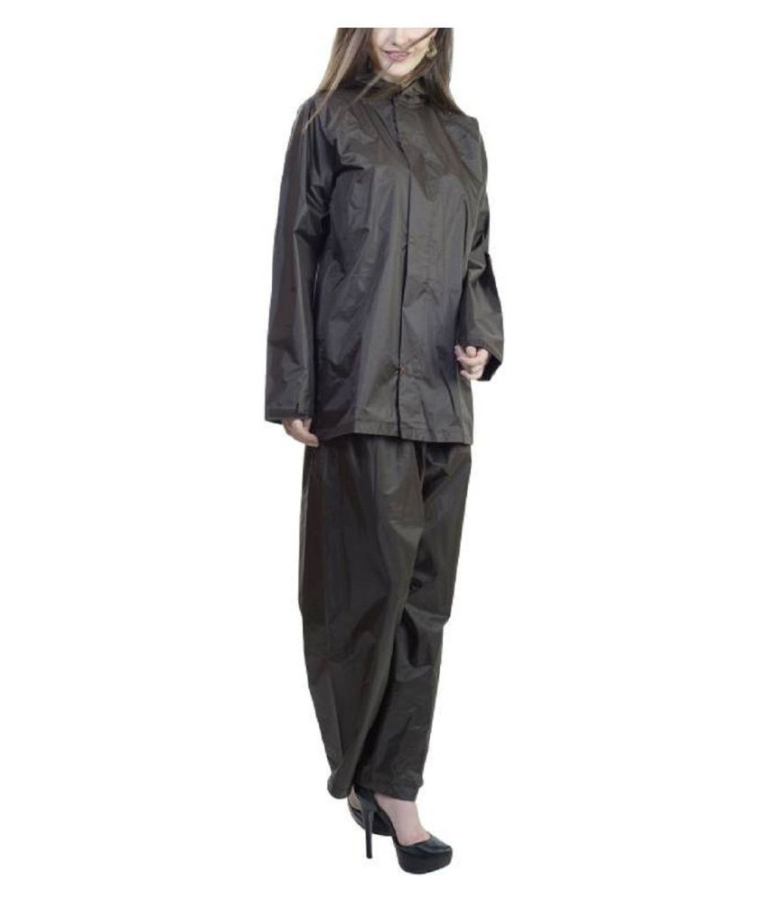 Hani Fashion Nylon Raincoat Set - Black