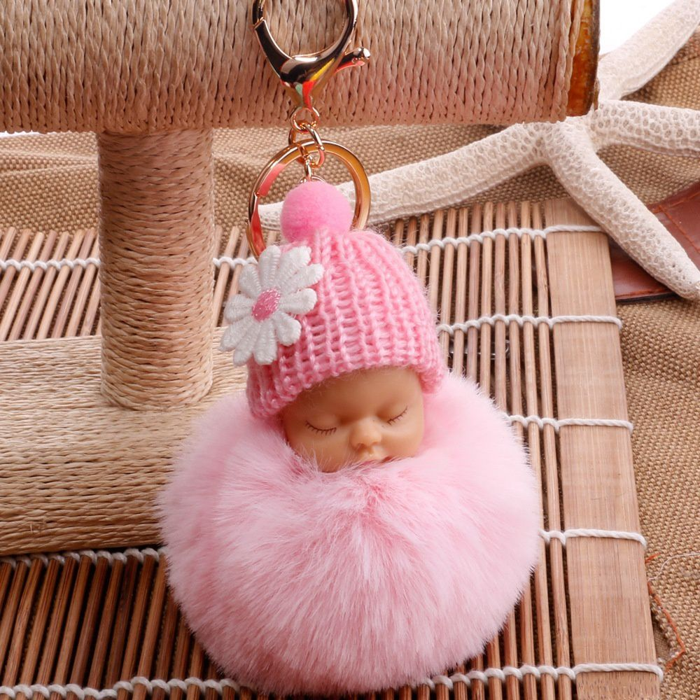 2018 Fashion Cute Little Baby Doll with Flower Fur Fluffy Key Chains  Key Pendant Cartoon Ornaments Gifts