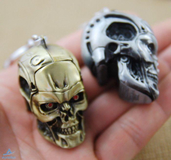 Apradas Fashion Men's  Latest Movie Terminator Keychain Skull Shape Cool Pendant Keyring for Men
